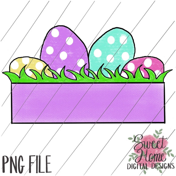 Easter Eggs with Banner Girl Colors PNG Printable, Printable
