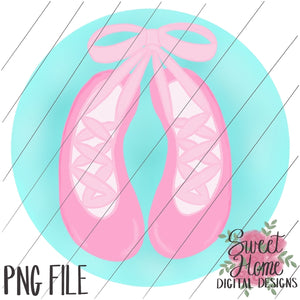 Ballet Slippers with Circle Background PNG Printable