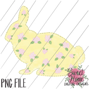 Vintage Yellow Floral Easter Bunny PNG Printable