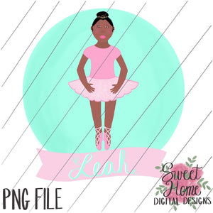 Ballerina with Banner African American PNG Printable