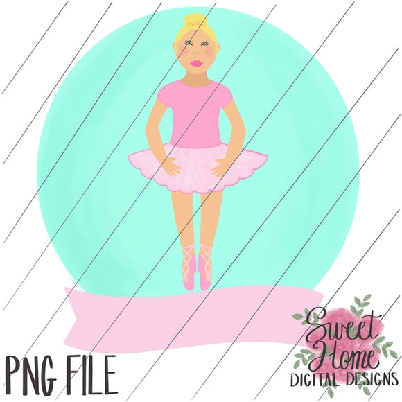 Ballerina with Banner Blonde Hair PNG Printable