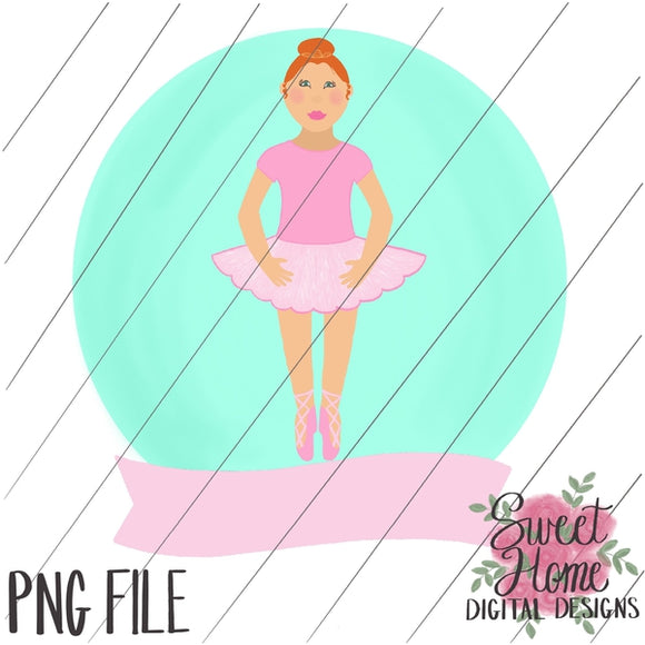 Ballerina with Banner Red Hair PNG Printable