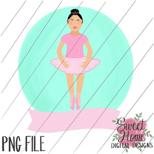 Ballerina with Banner Black Hair PNG Printable