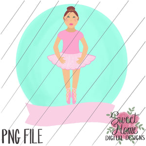 Ballerina with Banner Brown Hair PNG Printable