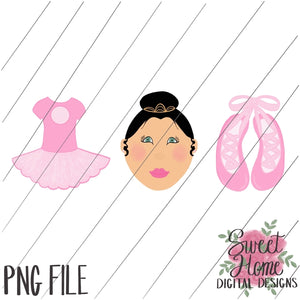 Ballet Trio Black Hair PNG Printable