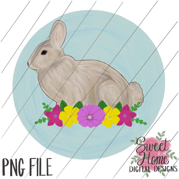 Vintage Easter Bunny with Floral Swag and Background PNG Printable