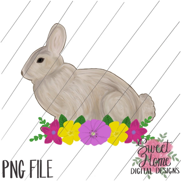 Vintage Easter Bunny with Floral Swag PNG Printable