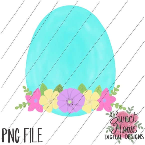 Easter Egg with Floral Swag PNG Printable