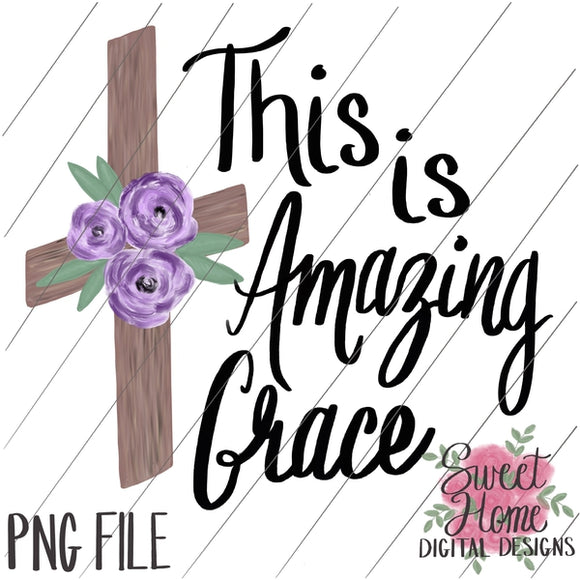 This is Amazing Grace Wood Cross with Purple Floral PNG Printable, Printable