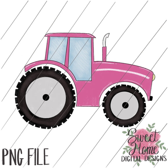 Tractor Pink PNG Printable
