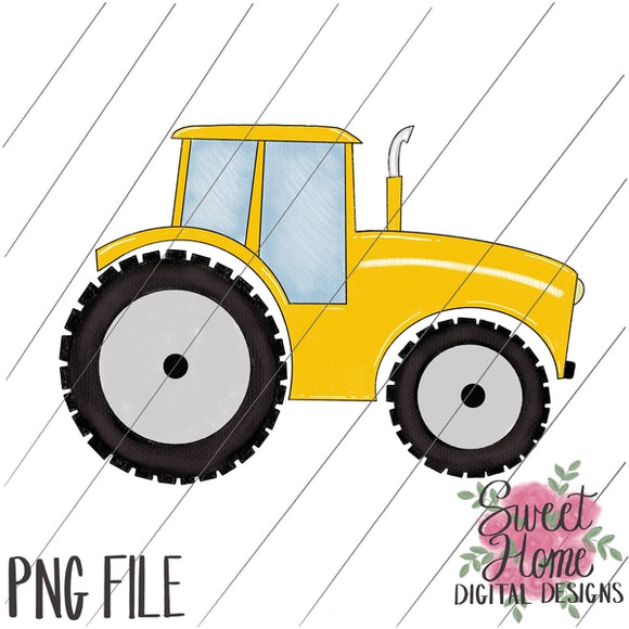 Tractor Yellow PNG Printable