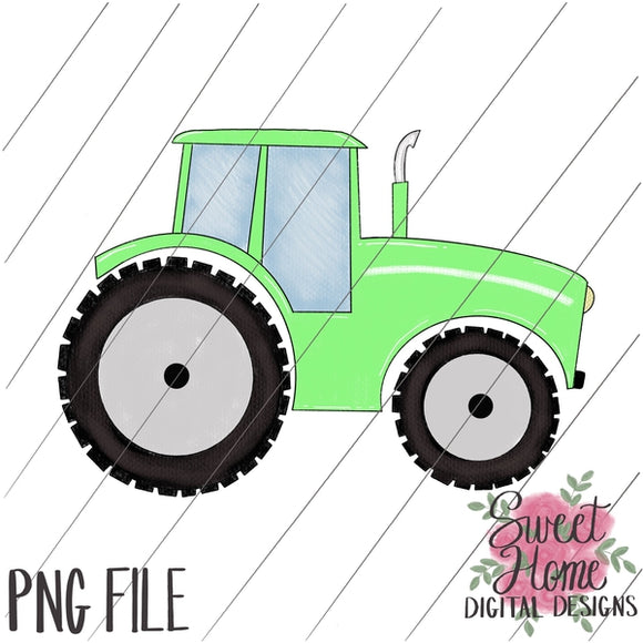 Tractor Light Green PNG Printable