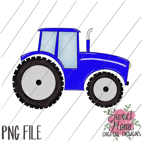 Tractor Blue PNG Printable