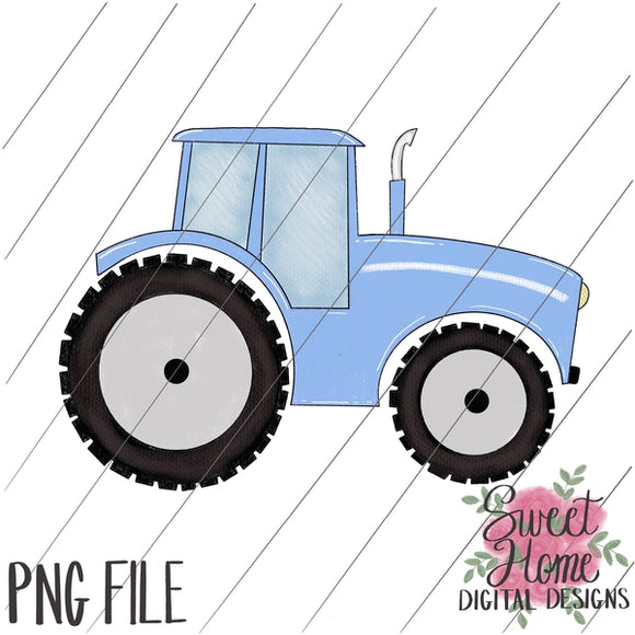 Tractor Light Blue PNG Printable
