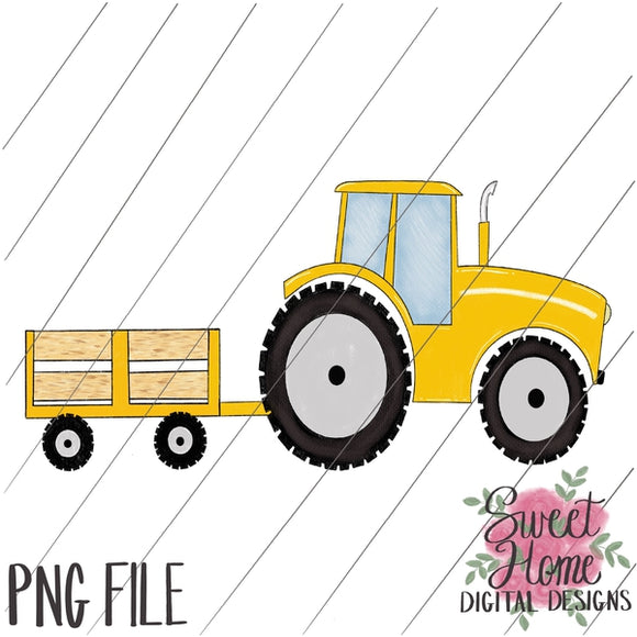 Tractor Trailer Yellow PNG Printable
