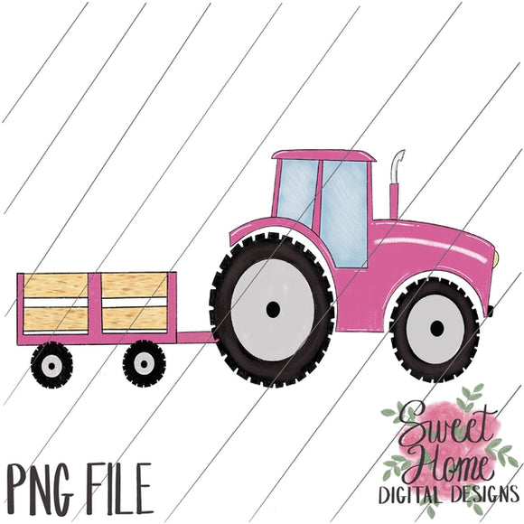 Tractor Trailer Pink PNG Printable