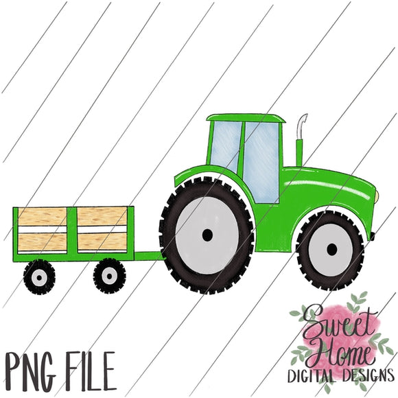 Tractor with Trailer Green PNG Printable