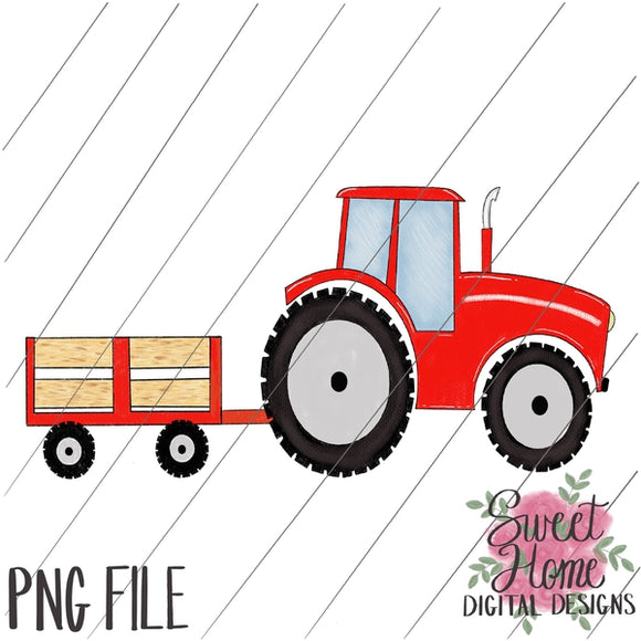 Tractor Trailer Red PNG Printable