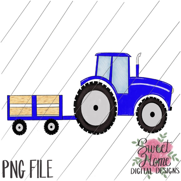 Tractor with Trailer Blue PNG Printable