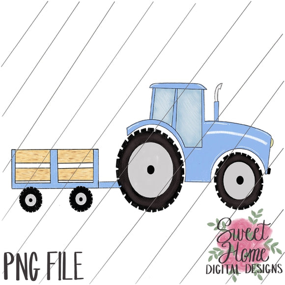 Tractor with Trailer Light Blue PNG Printable