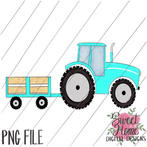 Tractor with Trailer Aqua PNG Printable