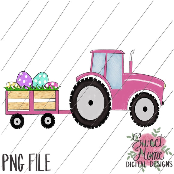 Tractor with Trailer Easter Pink PNG Printable