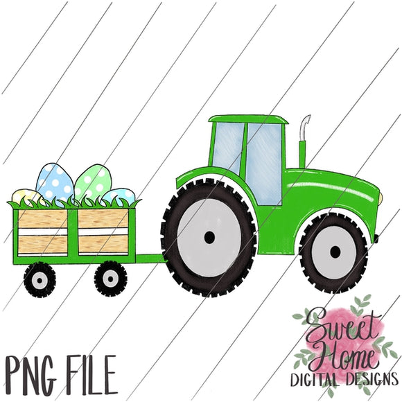 Tractor with Trailer Easter Green PNG Printable