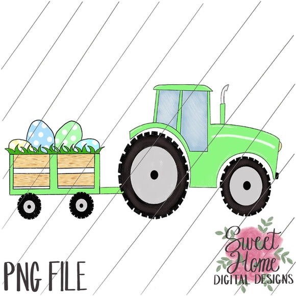 Tractor with Trailer Easter Light Green PNG Printable