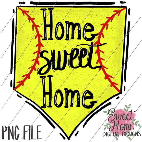 Home Sweet Home Softball Plate PNG Printable, Printable