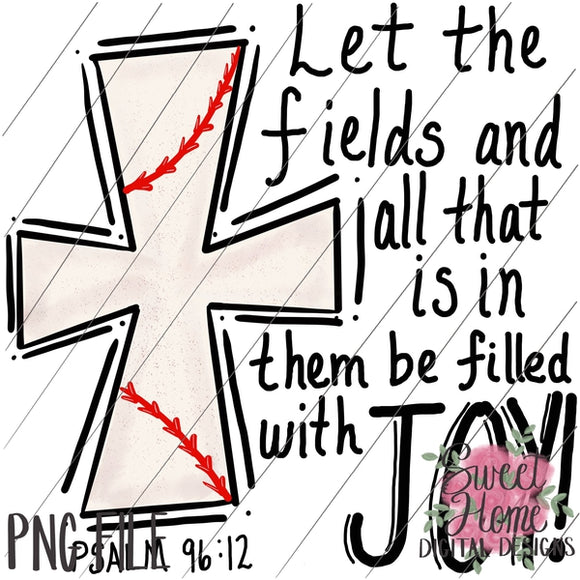 Fields of Joy Scripture Baseball Cross PNG Printable