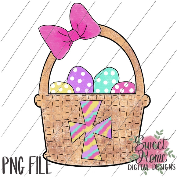 Easter Basket with Cross Girl Colors PNG Printable