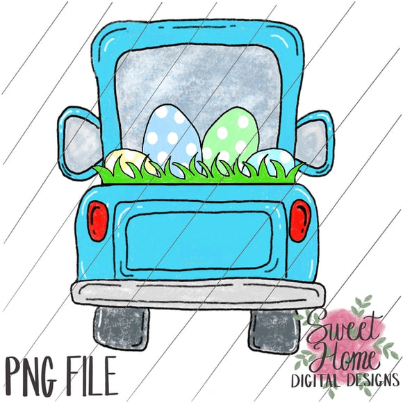 Tailgate Truck Aqua with Easter Eggs PNG Printable
