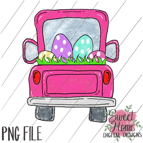 Tailgate Truck Pink with Easter Eggs PNG Printable