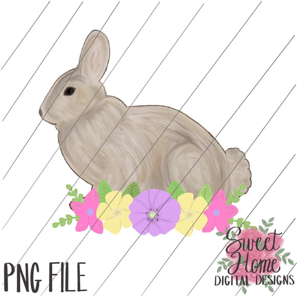 Vintage Easter Bunny with Pastel Floral Swag PNG Printable