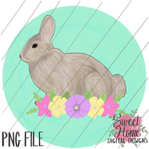 Vintage Easter Bunny with Pastel Floral and Background Swag PNG Printable