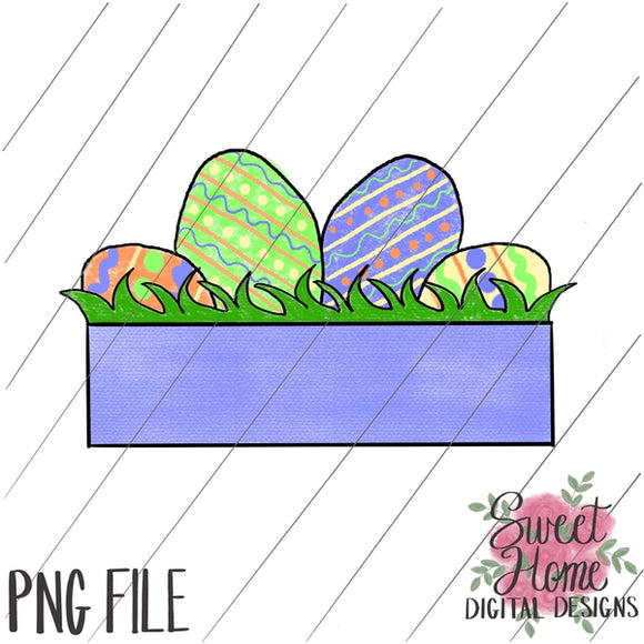 Easter Eggs with Banner PNG Printable, Printable