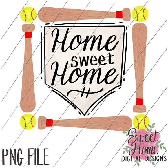 Home Sweet Home Softball Plate with Bat Frame PNG Printable, Printable