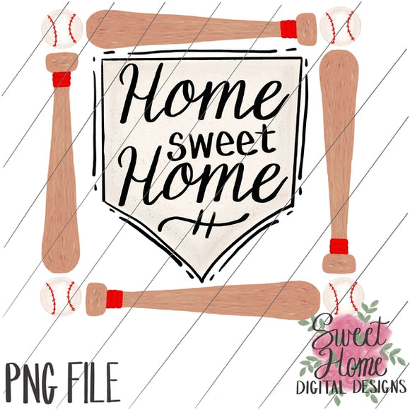 Home Sweet Home Baseball Plate with Bat Frame PNG Printable, Printable