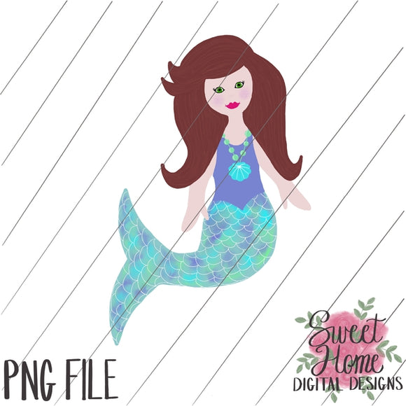Mermaid Brown Hair PNG Printable