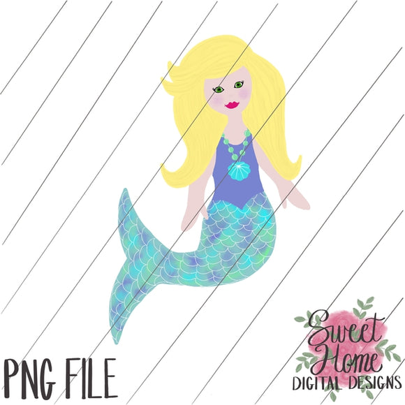 Mermaid Blonde Hair PNG Printable