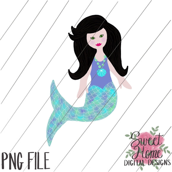 Mermaid Black Hair PNG Printable