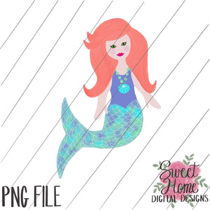 Mermaid Red Hair PNG Printable