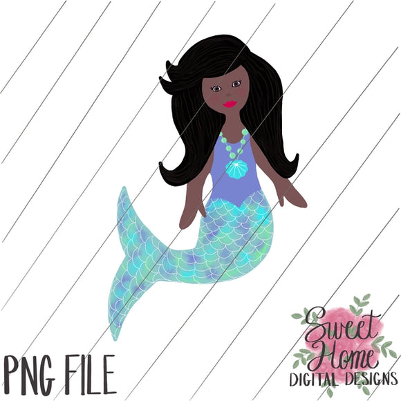 Mermaid African American PNG Printable