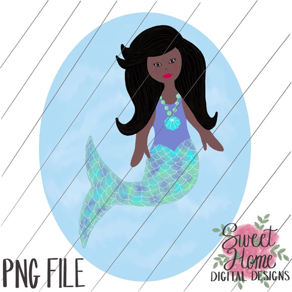 Mermaid with Background African American PNG Printable