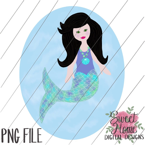 Mermaid with Background Black Hair PNG Printable