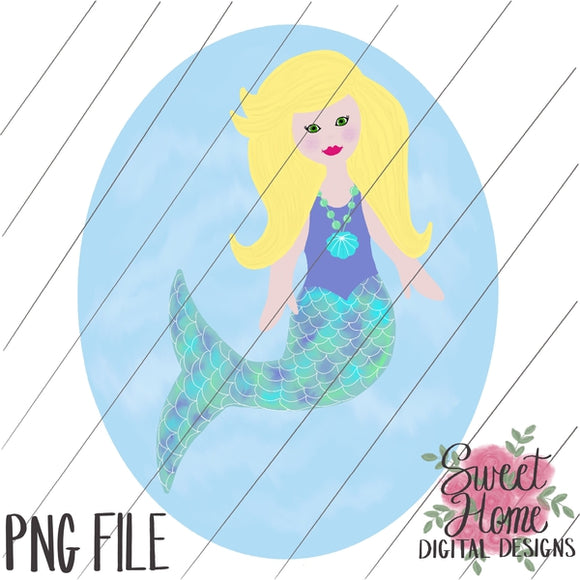 Mermaid with Background Blonde Hair PNG Printable