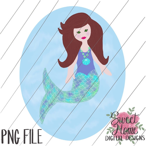Mermaid with Background Brown Hair PNG Printable