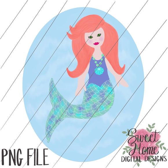 Mermaid with Background Red Hair PNG Printable