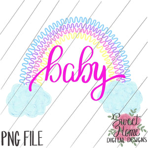 Rainbow Baby Zig Zag with Clouds Pastel Colors PNG Printable, Printable