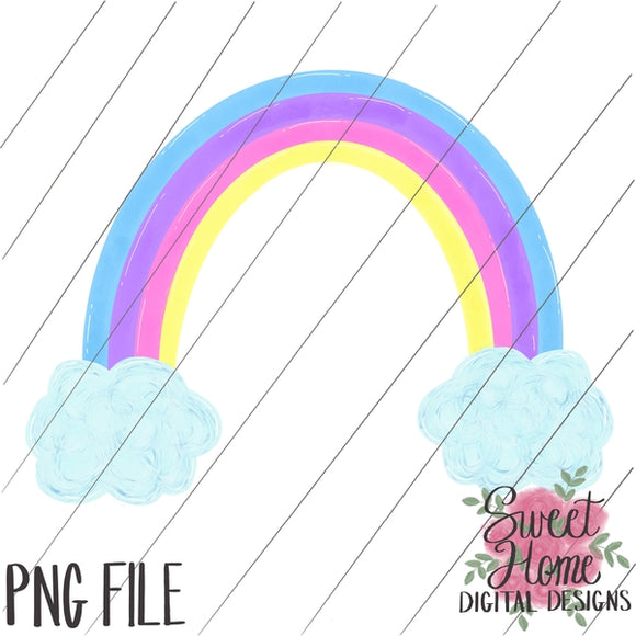 Rainbow with Clouds Pastel Colors PNG Printable